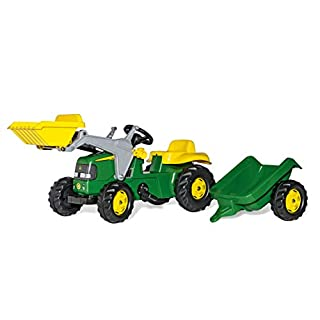 rolly toys John Deere Pedal Tractor with Working Front Loader and Detachable Trailer, Youth Ages 3+