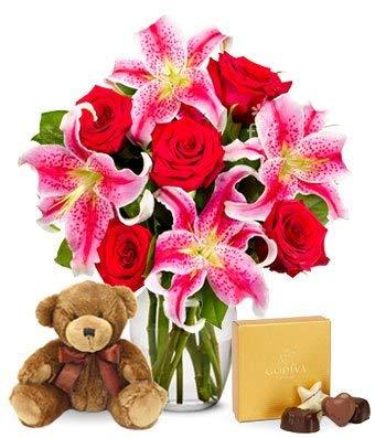 Flowers - Roses, Lilies, Godiva & Bear Bundle (Free Vase Included)