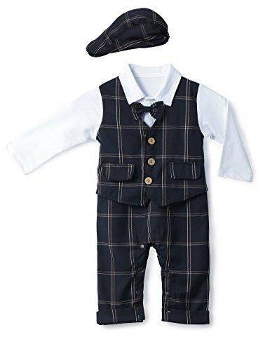 HMD Baby Boy Gentleman Plaid Navy Blue Bowtie Tuxedo Onesie Jumpsuit Romper Waistcoat Overall Romper with Hat (95(18-24 ()