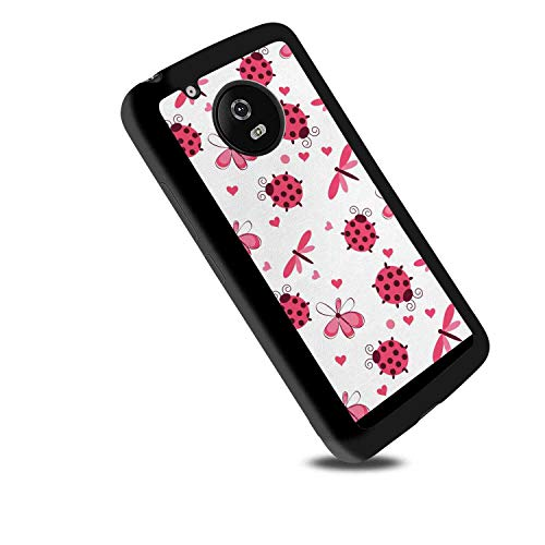 Soft TPU Case Compatible for Moto G5 (5-Inch) Ladybugs Domed Back Round Ladybugs with Hearts Flowers Dragonflies Romantic Wings Pattern Red White (Domed Flower)