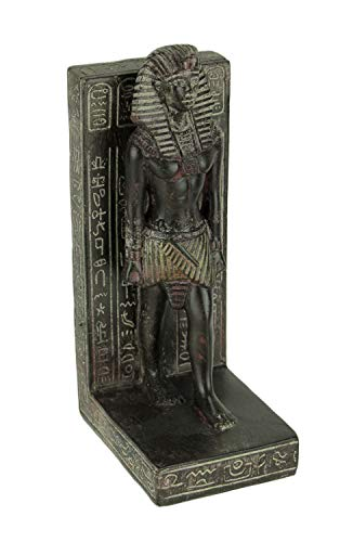 - Things2Die4 Dark Brown Stone Finish Egyptian Pharaoh Bookend Statue