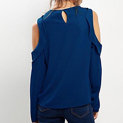Bretelles Bleu Automne Printemps O Solide 2018 zahuihuiM Longues Tops Cou Femmes Nouveau Blouses Shirt Mode Occasionnels Volants Nouveau T Manches x7qC5Hwq