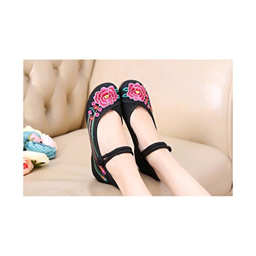 Chaussures Florales Chinoises Brodées Vintage Femme CHAHUA Ballerines Mary Jane Ballerine Flat Ballet Cotton Loafer Noir