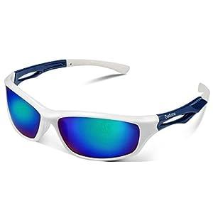Duduma Polarized Sports Sunglasses Sports Wrap for Running Cycling Fishing Golf Tr90 Unbreakable Frame(White/Blue)