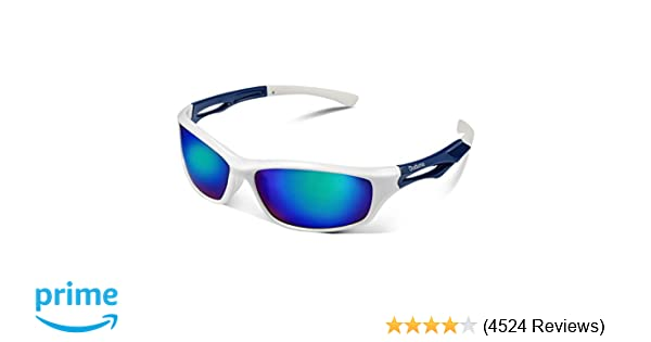244ca9c1f3ac Amazon.com  Duduma Polarized Sports Sunglasses Sports Wrap for Running  Cycling Fishing Golf Tr90 Unbreakable Frame(White Blue)  Sports   Outdoors