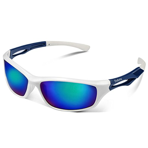 Duduma Polarized Sports Sunglasses Sports Wrap for Running Cycling Fishing Golf Tr90 Unbreakable Frame(White/Blue)