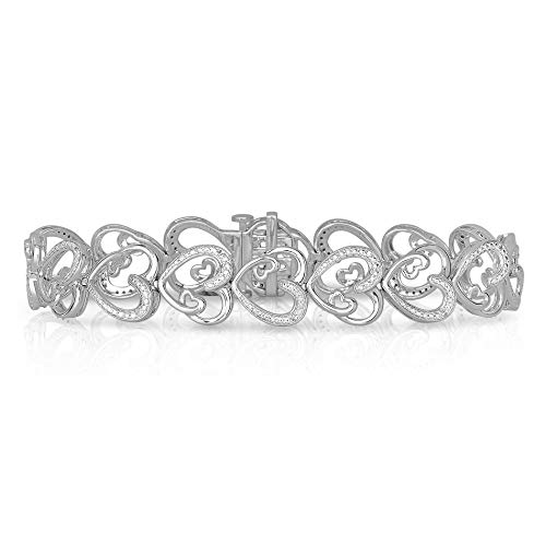 Something For Me BLOWOUT SALE Rhodium Plated Brass Diamond Heart Shaped Link Bracelet (1/10 cttw, 7 Inches) Diamond Shaped Link Bracelet