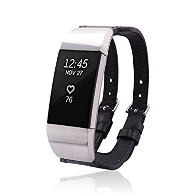 Fitbit Charge 2 Bracelet CLIPPER by fitjewels - more colors - stainless steel - real leather - Jewelry for Fitbit Charge 2 - Fitbit Charge 2 Band - Fitbit Charge 2 Accessories (No Tracker)