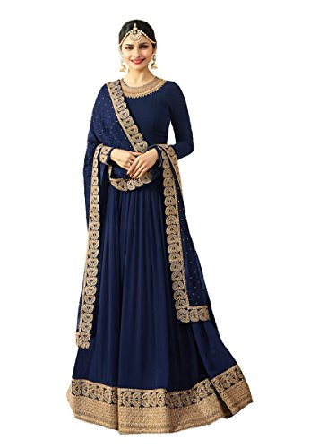 (New Indian/Pakistani Designer Georgette Party Wear Anarkali Suit Maisa (Blue, X-SMALL-36))