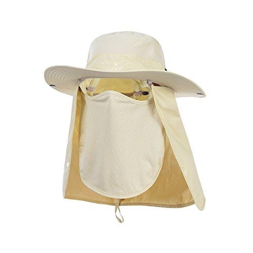 Hisea Unisex Fishing Hat Sun Hat Mesh Bucket Hat UPF 50+ Protection Detachable Cap Neck Face Khaki Color