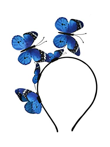 Butterfly Fascinator Hat Monarch Derby Headband Festival Crown Halloween Costume Bohemian Wedding Headpiece (A-Blue)]()