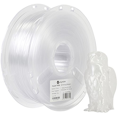 PolyLite 3D Printer Filament, PETG Filament, 1.75 mm Filament, 1Kg (2.2lb), Polymaker 3D Printing Filament,Transparent Filament, Clear Filament