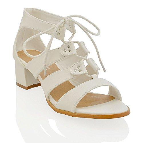 ESSEX GLAM Damen Niedrige Pfenningabsatz Gladiator ausgeschnittende Schnüren Sandalen Weiß Kunstleder