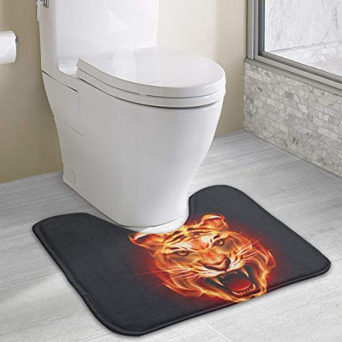 Dealbert Flaming Tiger Contour Bath Rugs,U-Shaped Bath Mats,Soft Memory Foam Bathroom Carpet,Nonslip Toilet Floor Mat 19.2″x15.7″