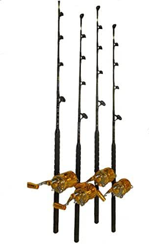 COMBO (4) 50 WIDE 2 SPEED REELS AND (4) 60-80 LB. BLUE MARLIN TOURNAMENT EDITION FISHING RODS