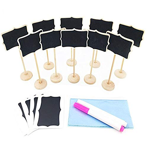 Mini Chalkboard, Mini Chalkboards with Stand, 2 Chalk Markers and Cleaning Cloth for Wedding Party Table Numbers, Place Cards, Food Name Card, Decorative Sign (Pack of 10) by -