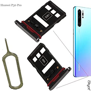 Iskyce Tiroir Carte Sim Et Carte Sd Pour Téléphone Huawei P30 Pro Noir Amazon Fr High Tech