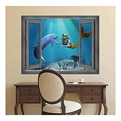 With Expert Quality, Magnificent Expert Craftsmanship, Open Window Creative Wall Decor Beautiful Drawing of a Mermaid and Dolphin Interaction Wall Mural
