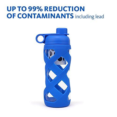 Aquasana 22 oz. Quite Water Bottle with Filter Glass, BPA Free Cap, Blue