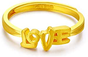 Touch Love Gold Platinum Plated Adjustable Ring
