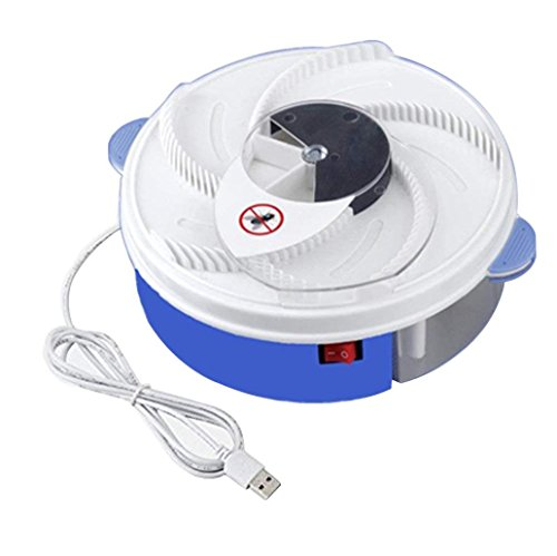 Inverlee Electric Fly Trap Device with Trapping Food Pest Catcher Fly Killer - White USB Cable (Blue)