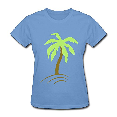 Fengzedid Palm Tree Beach Holiday Sun 2c Women's Short Sleeve Distinctive T ShirtSize L Color Sky