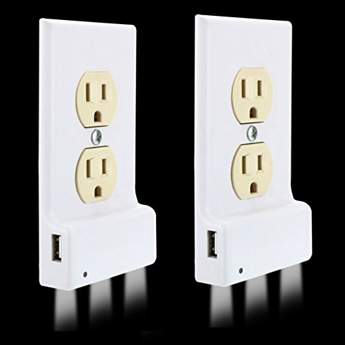 2-Pack Outlet Cover with LED Lights and USB Charging Port, Outlet Cover Plate, Night Light, Auto Sense Function, Easy Install, Light Sensor, Built-IN USB Interface and LED Lights by Marquee Innosvations