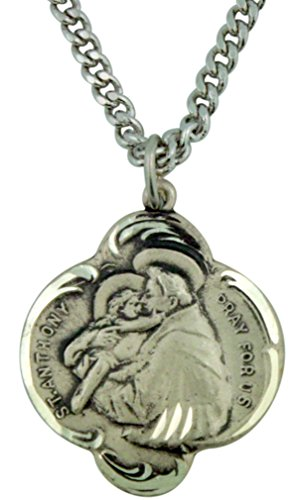 Saint Anthony 1 Inch Sterling Silver Arch Edge Medal Pendant