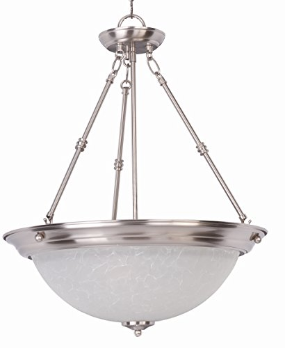 - Maxim 5846ICSN Essentials 3-Light Invert Bowl Pendant, Satin Nickel Finish, Ice Glass, MB Incandescent Incandescent Bulb , 100W Max., Damp Safety Rating, Standard Dimmable, Onyx Shade Material, 2300 Rated Lumens