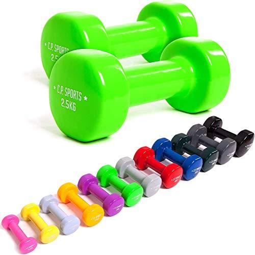 C.P.Sports Fitnesshalters met gripvast oppervlak, dumbbells, vinyl, 0,5 kg/0,75 kg/1,0 kg/1,5 kg/2,0 kg/2,5 kg/3,0 kg/4…