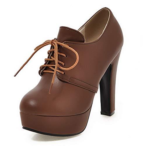 Waltz Choice Women's High Heel Shoes Platform Pumps Lace Up Casual Spring Autumn Shoe PU Leather (US 10=EU42, Brown)