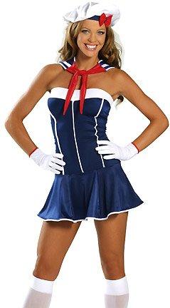 Anchors Away - Women's Sexy Nautical Costume Lingerie Outfit by 3WISHES (Sexy Nautical Costume)