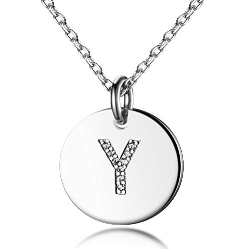 Dainty Disc Initial Necklace S925 Sterling Silver Letters Y Alphabet Pendant Necklace Birthday Gift for Her