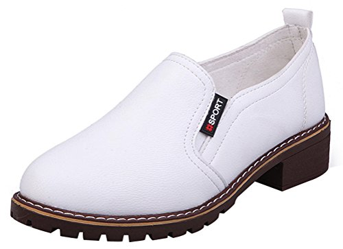Fresh Off The Boat Costume (Passionow Women's Trendy Round Toe Elastic Slip-on Low Heel Casual Walking Loafers Shoes (8 B(M)US,White))