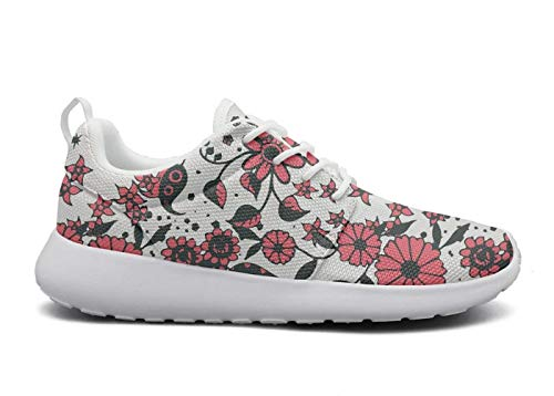 Juiertjko Women Lace-Up Mesh Unique Cushion Boho Flowers Summer Floral Hunting Running Shoes Sneakers ()