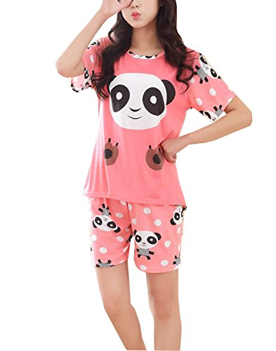 BAIYIXIN Fashion Store Girls Cute Panda Summer Shorts Pajamas Set For Young/Big Girl/Junior/Teenage Sleepwear(8y-14y)