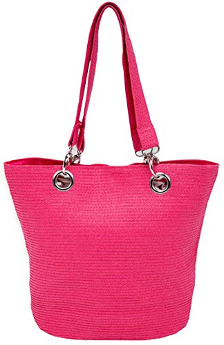 Summer Fun Women's Lightweight Woven Braid Vibrant Shoulder Tote Bags (Fuchsia)