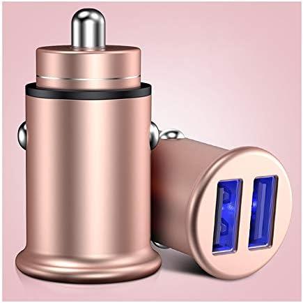 車の充電器、その他のiOSとAndroidスマートフォンのための技術を充電するスマートデバイス-適応と迅速なデュアルポートUSB車の充電器 (Color : Pink)