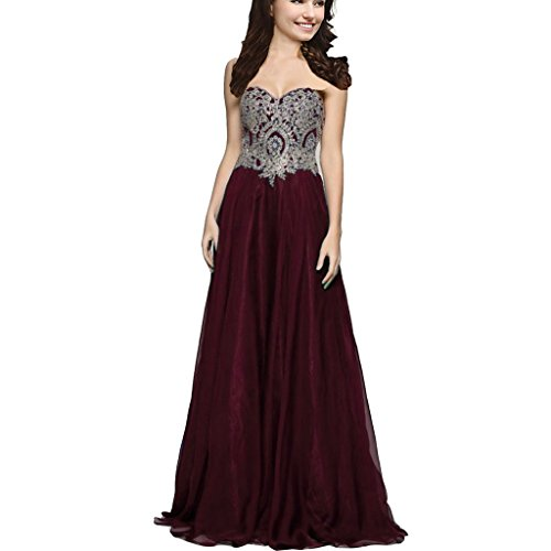 Corset Long Gown (Lemai A Line Chiffon Crystals Gold Lace Long Formal Prom Gowns Evening Dresses Burgundy US 6)