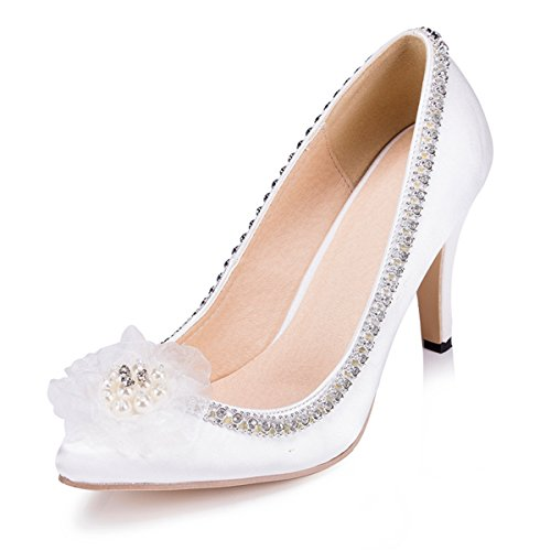 Kevin Fashion Zms1509 Cadenas De Las Mujeres Diamantes De Imitación De Satén Nupcial Del Banquete De Boda De Noche Bombas De Baile Zapatos Marfil