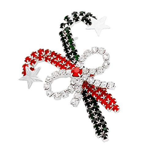 - Kigmay Jewelry Christmas Outfit Collection 2019 Crystal Candy Cane & Bow Brooch (Silver)