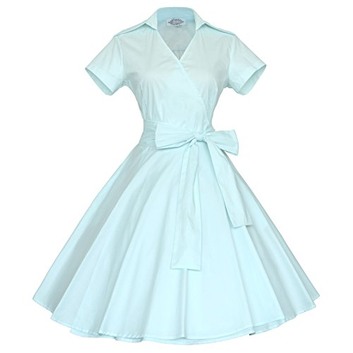 Maggie Tang 50s 60s Vintage Short Sleeves Rockabilly Party Dress Mint Blue XL -