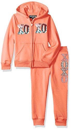 XOXO Big Girls' Hoodie and Jogger Set, Coral Sorbet, 7/8