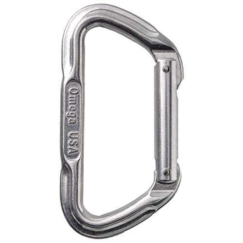 Omega Pacific Non Locking Climbing Carabiner, Lite D, Straight Gate, Bright, Rock Climbing Gear and Equipment, Safety, Rescue, Industrial, and Arborist Uses