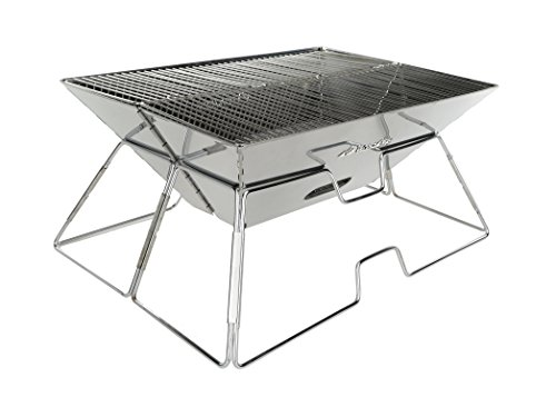 Charcoal Grill - Folding Stainless Steel Barbecue Grill for All Outdoor Adventures | Collapsible Cooker with Travel Tote Bag |Portable Outdoor Cooker for BBQ's| Hiking | Backyard | Beach