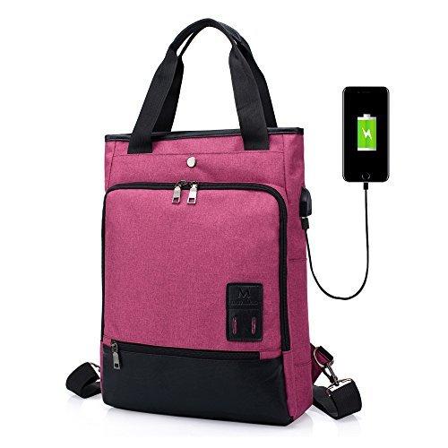Mochila para Mujeres Hombres Bolso SINOKAL Bolsa de viaje Mochila de Portátil Backpack Impermeable para el Laptop del Negocio Trabajo Diario Ocio con puerto de carga USB (Rosa roja)