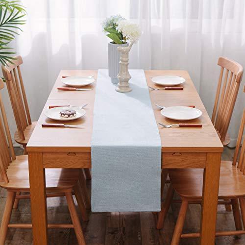 NATUS WEAVER Soft Caddice Faux Linen 2 Side Table Runner, eco-Friendly Fabric Handcrafted Runner, Light Blue 12 x 90 ()