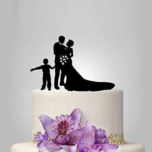 Buythrow Family Silhouette Wedding Cake Topper with Boy Bride and Groom Cake Topper