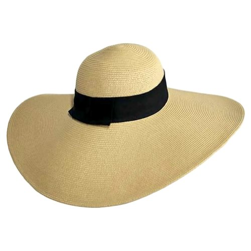 Luxury Divas Flat Tan Wide Brim Sun Hat With Black Ribbon Trim