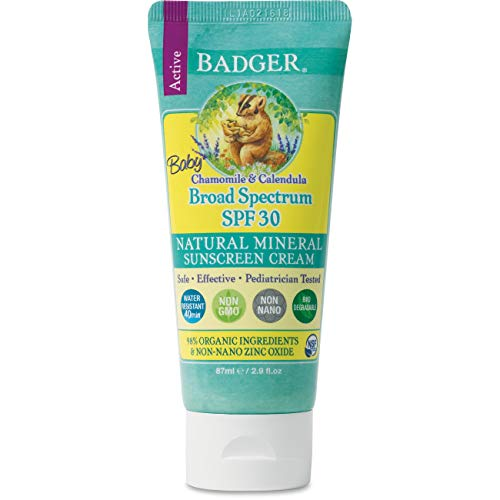 Badger – SPF 30 Baby Sunscreen Cream with Zinc Oxide – Broad Spectrum & Water Resistant, Reef Safe Sunscreen, Natural…
